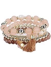 La Cabina Femme Fille Bracelet Bijou de Poignet Bangle en Perles  Multicouches avec Pendentif Charmant Symbole 8916238ece4