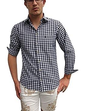 BYJOHANNA Trachtenhemd Herren Hemden Schwarz Weiß Karo Baumwolle Langarm Freizeit Business Hochzeit (L)
