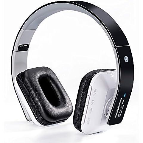 WanEway B-02 Cuffie Stereo Senza Fili Bluetooth - Circumaurale con Microfono Incorporato e Batteria Ricaricabile, Radio FM, Compatibile con iPhones, Samsung, Galaxy, Nokia, HTC, Blackberry, Google, LG, Nexus, iPad, Tablet, Telefonini, Smartphones, PC's, Laptops