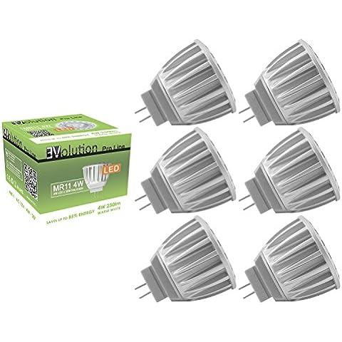 6x Evolution Pro Line MR11 4W | Pacchetto Offerta! | 30° LED Luce spot | AC o DC 12V / 4W 250lm bianca calda