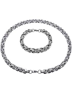 Soul-Cats® Königskette / Halskette aus Edelstahl, mit oder ohne Armband; Farbe: silber