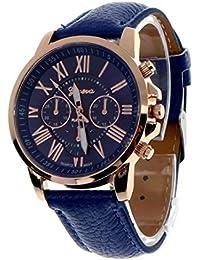 Relojes Pulsera Mujers,Xinan Imitación de Cuero Cuarzo Analógico Relojs (Azul Oscuro)