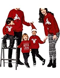 Ansenesna Weihnachten Familien Outfit Mutter Vater Kind Rot Soft Elegant Pullover Tops Langarm Kleidung