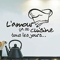 Moonuy Cuisine Autocollant Vinyle Decal Cuisine Carrelage Chef Mur Décor Savoureux Wall sticker Chambre Cuisine decoration murale vignette Décoration de cuisine Autocollant Applique (Noir)