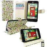 Emartbuy® LG L65 Brieftaschen Wallet Etui Hülle Case Cover aus PU Leder Floral Rosa / Grün mit KRotitkartenfächern