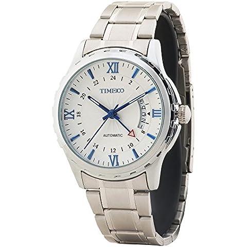 Time100 vintage orologio da uomo meccanico automatico in acciaio semplice #W60048G, 03A