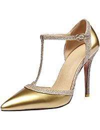 UH Damen T Spange Pumps Stiletto High Heels Spitz Party Elegante Schuhe 4bb9a130be