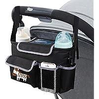 Tasche für Kinderwagen mit verstellbarem Gurt - Mopalwin Kinderwagen Organizer & Zubehör, mit viel Stauraum für Spielzeug, Windeln, Trinkflaschen, Handys und andere Babysachen (schwarz)