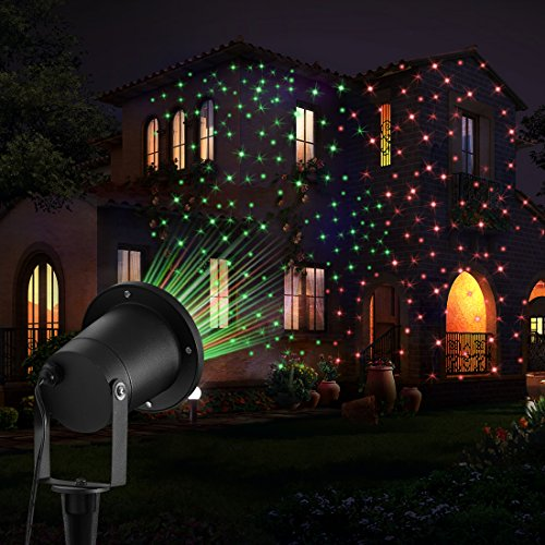 Feelglad Projector Lights , FeelGlad 2 in 1 Waterproof Starry Landscape Light for Christmas with Remote Controller(Redamp;Green)