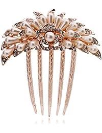 elufly New Fashion cristal perle artificielle paon propagation feuilles Peigne à cheveux clip pour mariage Party Prom