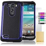 32nd® Funda Carcasa rígida de Alta Protección para LG G3 S (G3 Mini / D722 ), incluye protector de pantalla, paño de limpieza y lápiz optico - Azul