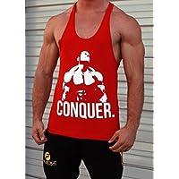 Conquista Chaleco de tirantes para hombre | camiseta de tirantes | Stringer, Bodybuilding |y-back espalda cruzada, rojo, extra-large