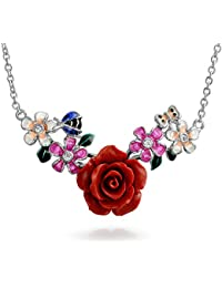 Bling Jewelry 925 Silber Rote Zirkonia Emaille Rose Marienkäfer Halskette
