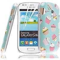 JAMMYLIZARD Custodia Cupcakes per Samsung Galaxy S3 mini CIOCCO-MENTA, pellicola proteggi schermo inclusa