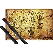 Póster + Soporte: El Hobbit Póster (91x61 cm) Mapa De La Tierra Media Y 1 Lote De 2 Varillas Negras 1art1®