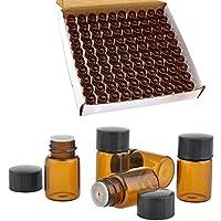 100 paquetes de viales de cristal ámbar, 2 ml (5/8 Dram) botellas de aceite esencial, mini perfume, botellas de viales, con reductor de olores y capucha.