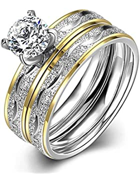 vergoldet Cubic Zirkonia Edelstahl Ringe für Frauen 2PCS ein Set