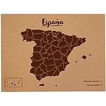 Miss Wood Woody Map XL - Mapa del mundo de corcho con diseño España , color marrón