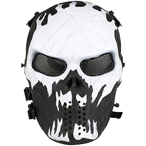 Diseño de calavera de malla kapmore Máscara de airsoft máscara de cara completa máscara de Halloween máscaras, blanco