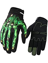 Cycling Handschuhe, spohife pantalla táctil Esqueleto de costura Full dedos silicona Guantes Grip Ciclismo para bicicleta Ciclismo MTB, color verde, tamaño extra-large