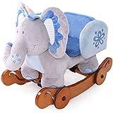 Labebe Mecedora y Balancín Caballito Con Ruedas De Peluche Elefante Color azul para los bebe