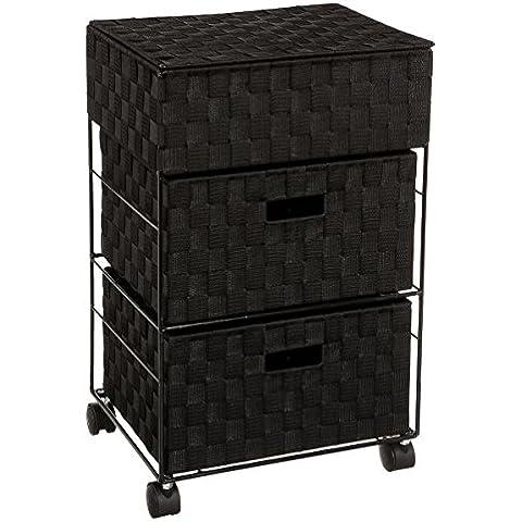 Mueble organizador con ruedas, 2 cajones y un baúl - Práctico y de diseño - Color NEGRO