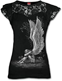 Spiral - Women - ENSLAVED ANGEL - Lace Layered Cap Sleeve Top Black