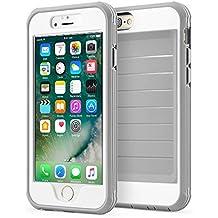 Funda iPhone 6/6s 360° Integral Para Ambas Caras CLOUDSTOO [GRATIS Protector de Pantalla de Vidrio Templado] Case Cover Carcasa para iPhone 6s 6--(GRIS / BLANCO)