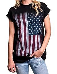 T-Shirt mit USA Flagge - Oversize Longshirt große Größen