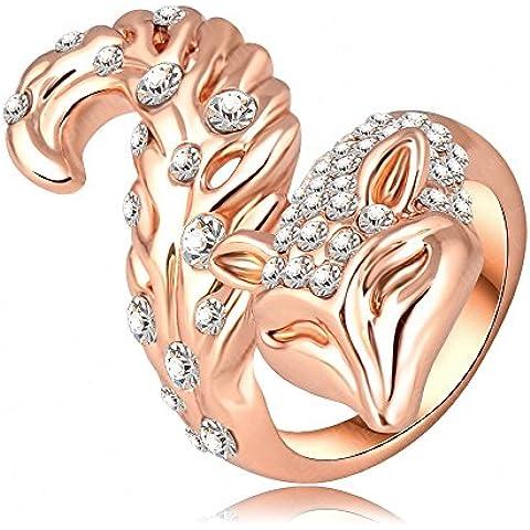 Bling fashion fashion Reale 18K Placcato Oro Rosa e Cristallo Austriaco classico Fox Forma Anelli di fidanzamento Fashion Jewelry