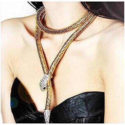 darkey Wang hembra personalidad retro multiusos Diamond serpiente Pulsera Collar De Cadena De