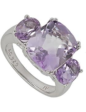 Harry Ivens Damen-Ring Sterling-Silber 925 rhodiniert Amethyst