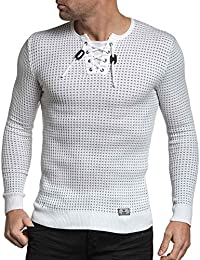 BLZ jeans - Pull homme fine maille blanche moulant col stylé