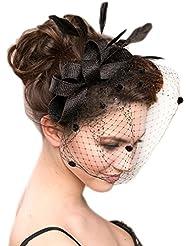 Fletion gante Femmes Filles Strass Voile Fascinator Barrette Chapeau avec Des Fleurs Brod Pour l'arc en forme de voile de la mari cheveux banquet ou la fie