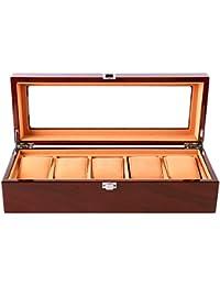Uhrenbox Holz für 5 Slots Uhrengehäuse Schmuck Display Aufbewahrungsboxen mit Glas Top und Removal Storage Kissen Braun (Brown)