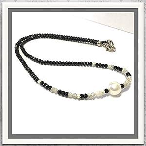 Steincollier mit Spinell, Diamant + Perle 43cm