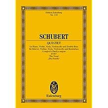 """Quintett A-Dur: """"Forellen-Quintett"""". op. 114. D 667. Klavier, Violine, Viola, Violoncello und Kontrabass. Studienpartitur. (Eulenburg Studienpartituren)"""