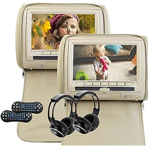 Libre de canal dual LCD de pantalla ancha digital Auriculares IR 9 pulgadas monitor HD 800 * 480 del coche universal reproductor de DVD reposacabezas monitor multimedia con soporte transmisor de control remoto IR Juegos