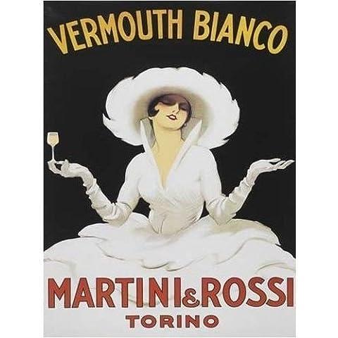 Vermut Bianco, Martini & Rossi Torino. Dama con vidrio, no botella época antigua bebida, anuncio, retro para casa, hogar, bar o pub Metal/Cartel De Acero Para Pared - 20 x 30 cm