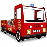 Lit enfants camion pompier lits garcon chambre avec sommier à lattes inclus 205x95x103cm