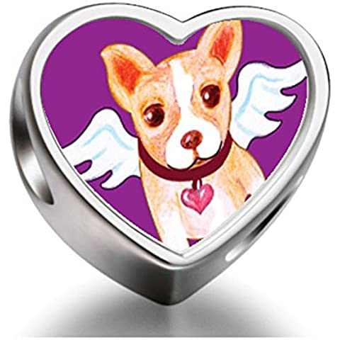 Rarelove Sterling Silver Chihuahua Dog From Heaven Heart Photo Charm Beads