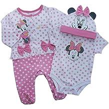 Disney 3piezas Minnie Mouse bebé niña Body de manga corta para con a juego pantalones y parte superior