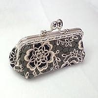 Porte monnaie avec fermoir en métal rectangulaire couleur argent, tissus japonais