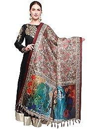 Mrinalika Fashion Cotton Silk Digital Print Dupatta (Dupattas For Womens _Salwar Suit Dgdpt01_Brown_Free Size)