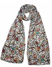 Super luxury large maxi scarf Owl On Branch print cream