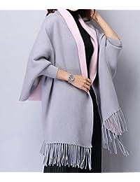 Frauen Kaschmir grau/rosa Poncho Strickjacke Strickpullover Mantel Schal Winter Pullover Oversize