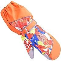 TRIWONDER Manoplas Impermeables para niños de 3-12 años Guantes Calientes para Exteriores Manoplas de Nieve Guantes de esquí de Invierno (Naranja, S (7-9 años))