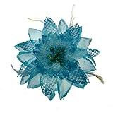 Acosta - de Color Azul con Purpurina y DE Plumas de - corsé Lily tamaño Grande Tela Diseño de Flores - Broche con Forma de/Ad