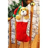 KAMACA Größe ca 50 cm lang Strumpf zum selber Befüllen Sehr flauschiger XXL Nikolausstrumpf // Weihnachtsstrumpf // Nikolausstiefel // Weihnachtssocke aus Plüsch mit eingenähtem Stofftier // großer Geschenke aus hautsympathischem Plüsch-Stoff schö