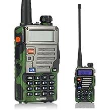 BaoFeng UV-5R Plus UV5R+ - Walkie talkie (bibanda, doble monitor, doble standby, 136-174/400-480 MHz 2M/70CM, emisor y receptor, radio FM, antena extensible hasta 18 cm), diseño de camuflaje
